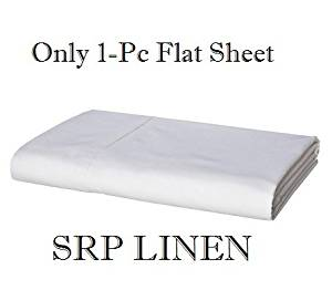 SRP Linen 600-Thread-Count Pure 100-Percent Cotton Percale Super Soft 1-Piece Flat Sheet/Top Sheet Emperor/Wyoming King Solid White With Wholesale Price