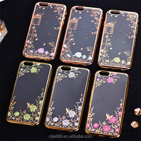 TPU electroplate extra slim cell phone case for iPhone 7 back cover flower case