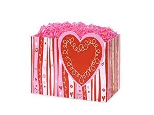 "SMALL SWIRLY HEARTS Basket Boxes6-3/4x4x5"" (5 unit, 6 pack per unit.)"