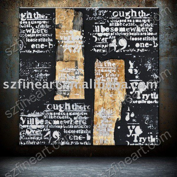 Contemporary Handmade Canvas Oil Painting with letter writings