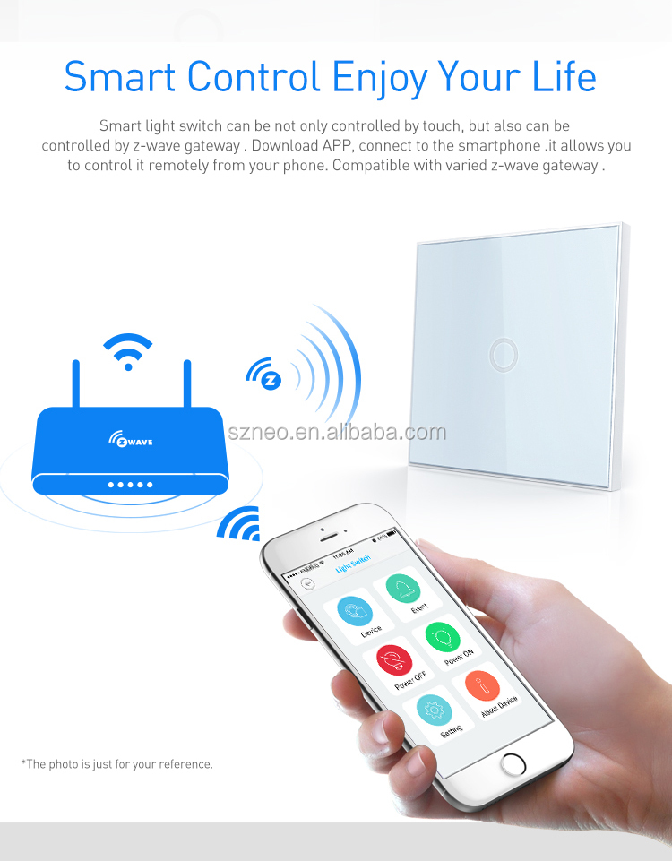 z-wave plus 1gang/2gang lighting switch remote control light via smart phone