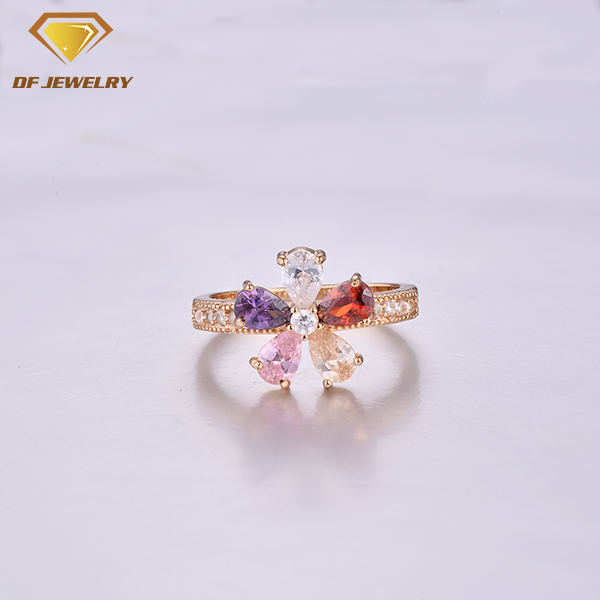 CR1707521 CZ Jewelry Set Brass Jewelry Flower Shape Colorful Stone Ring