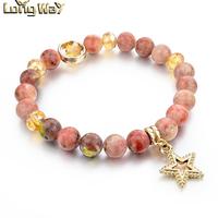 Natural stone bracelet semi-precious stone bracelet with star charm