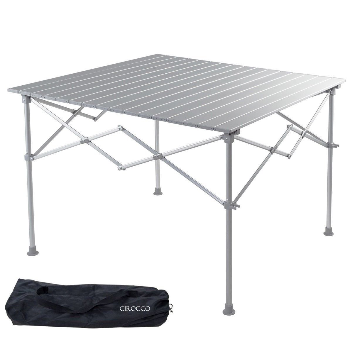 Aluminum Alloy Portable Folding Indoor Outdoor Camping BBQ Picnic Table Desk with Roll up Top | Heavy Duty Compact Lightweight Furniture for Patio Garden Party Backyard Beach Swimming Hiking Fishing