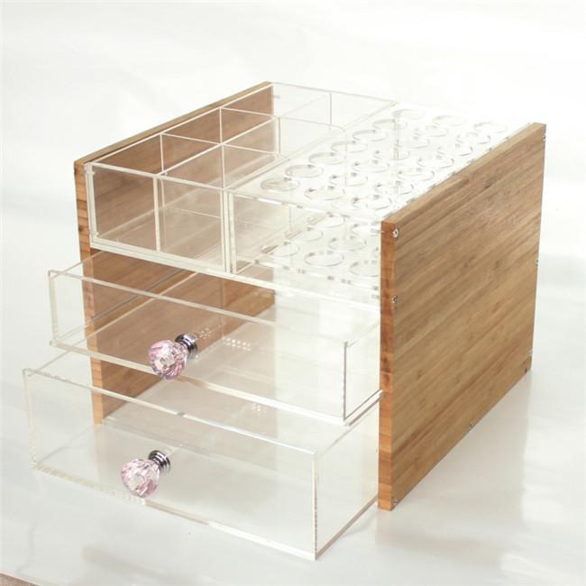 Kustom Bambu Sisi Kristal Batal Makeup Laci Kotak Penyimpanan Dengan