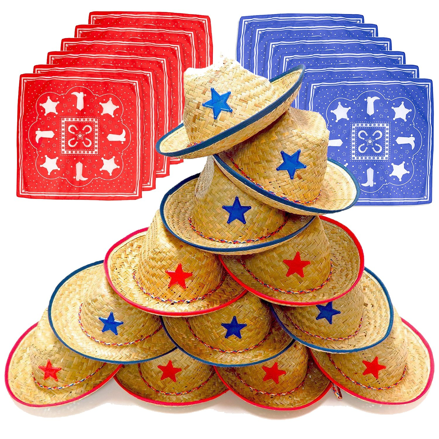 Dozen Straw Cowboy Hats with Cowboy Bandanas (6 Red & 6 Blue) for Kids - Makes Great Birthday Party Hats for Boys and Girls