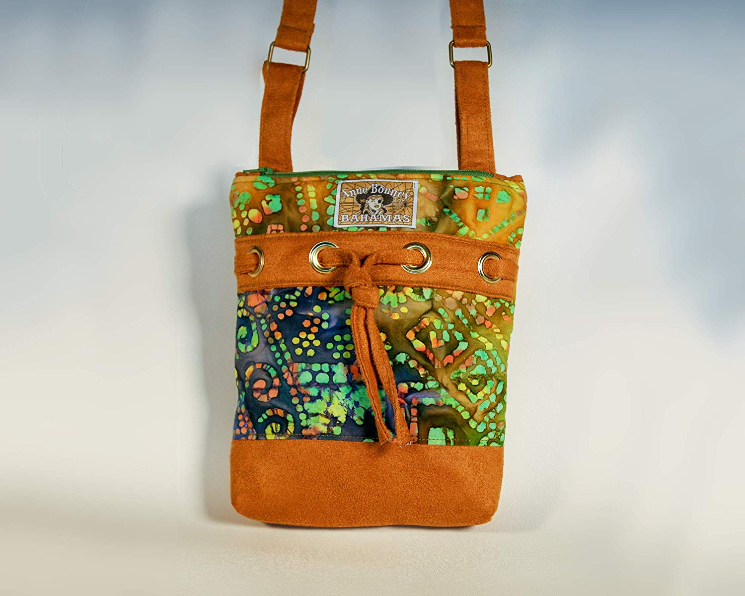 86c7f5bcaf42 Get Quotations · Batik cross body bag with drawstring decor and two zipper  pockets