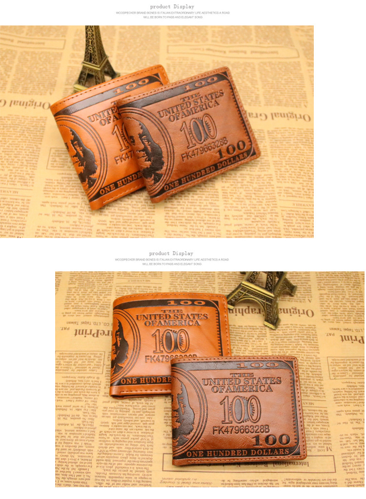 HOT Selling USD 100 One Hundred Dollar Embossed Vintage PU Leather Men's Short Wallet,Coin Purse For Man