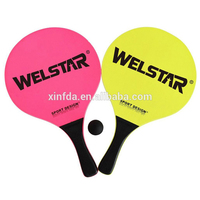 Wooden Paddle Beach Ball Game Tennis Racket 2 paddle 1 ball