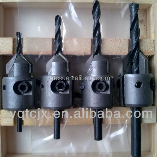 TC-004V Hand Tool Parts 4PCS TCT Carbide Tipped Countersink Drill Bits For Wood Drilling