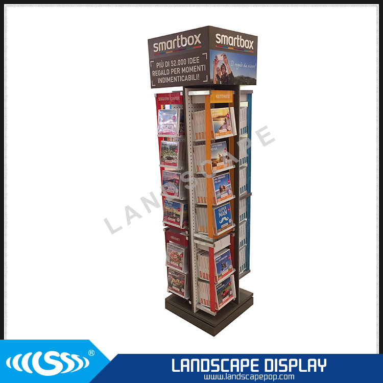 Custom made 4-sided book display / metal floor rotating book display rack / spinning floor book display