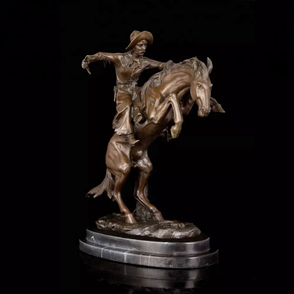 Small Bronco Buster Bronze Statue