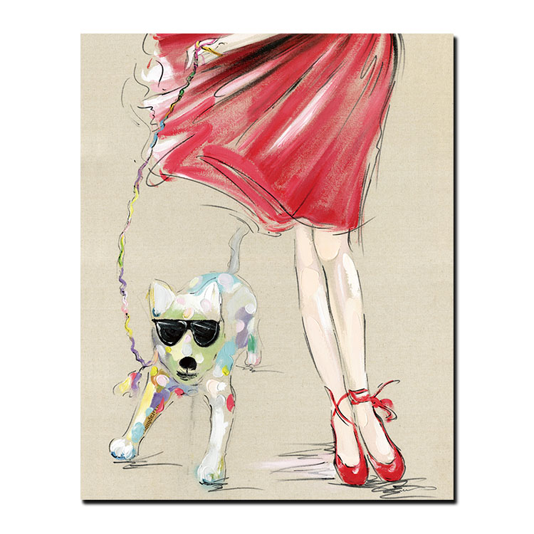 Fashion customization Chinese Girls With Dog Painting pictures girls beautiful Pink Wall Art Woman