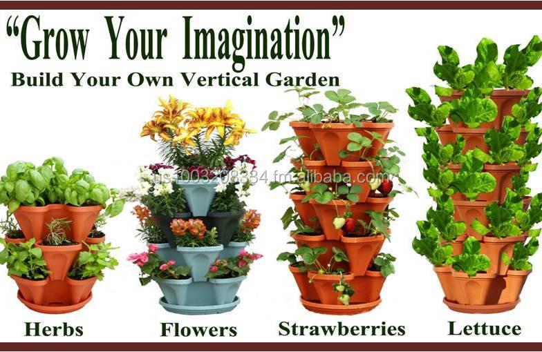 Vertical Gardening Planter Pots Plastic Stackable Garden Tower Containers Decorative Indoor And Outdoor Herb Strawberry Buy Vertical Garden Pots