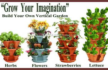 Vertical Gardening Planter Pots   Plastic Stackable Garden Tower Containers    Decorative Indoor And Outdoor