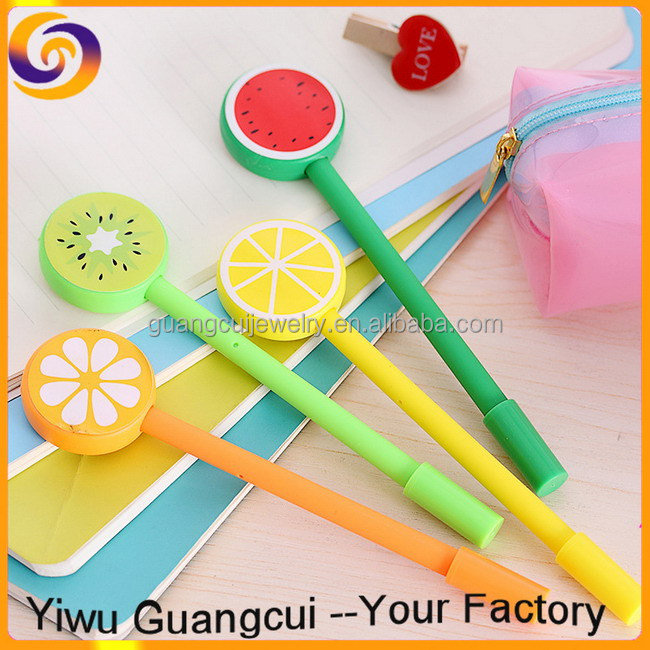 Korea cartoon orange lemon kiwi fruit gel pen for kids