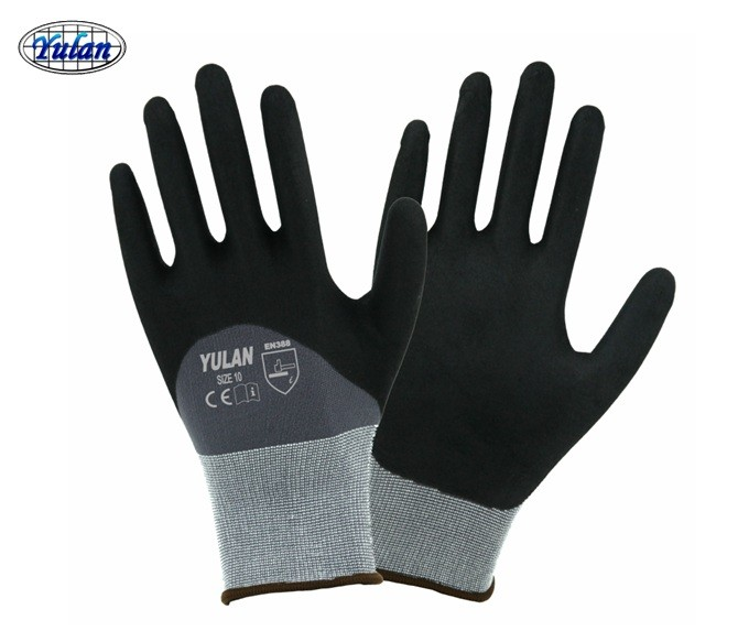 sandy nitrile coated safety working gloves 15 guage
