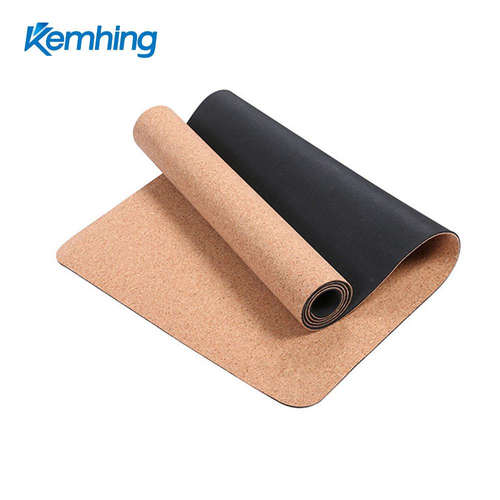 custom logo print eco friendly yoga mat tpe combine cork yoga mat