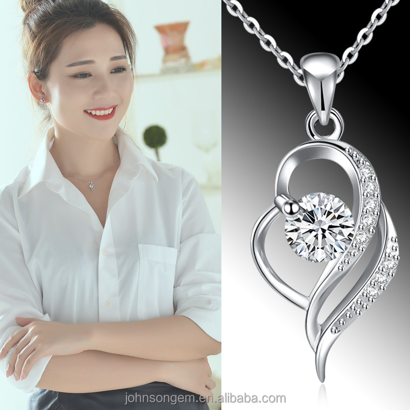 2017 simple fashion design 925 silver white crystal zircon cz semi-precious stone double love heart pendant jewelry necklace