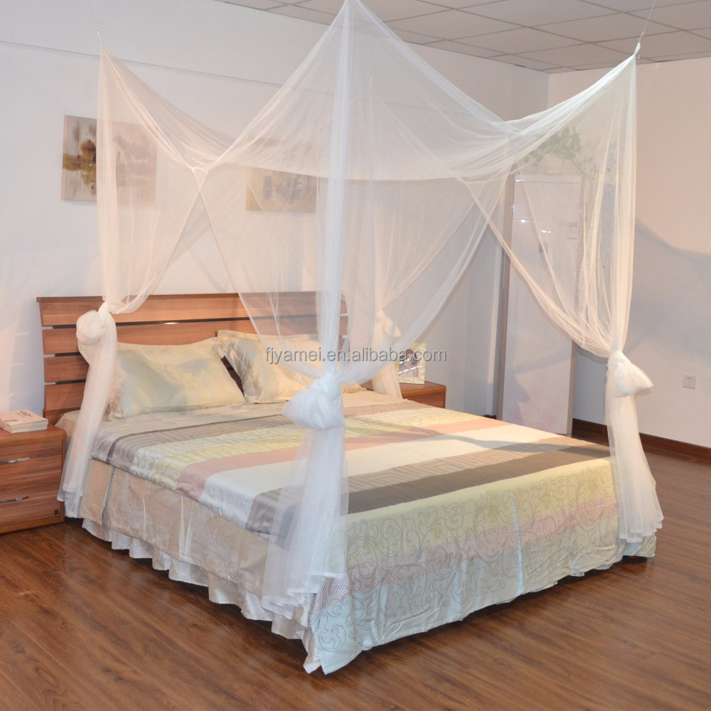 - Four Corner White Bed Canopy Mosquito Net Full Queen King - Buy