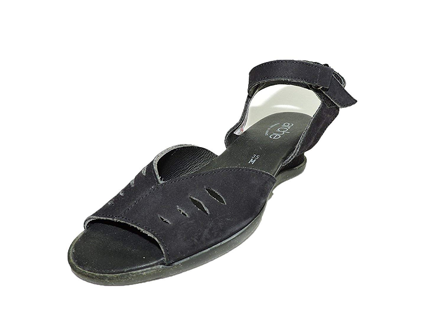 """Arche Istria Black Leather Wedge Sandals Open Toe Low 2"""" Heel Size 5 m"""