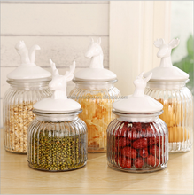 Custom Design Decal Glass Food Storage Container with Ceramic lid