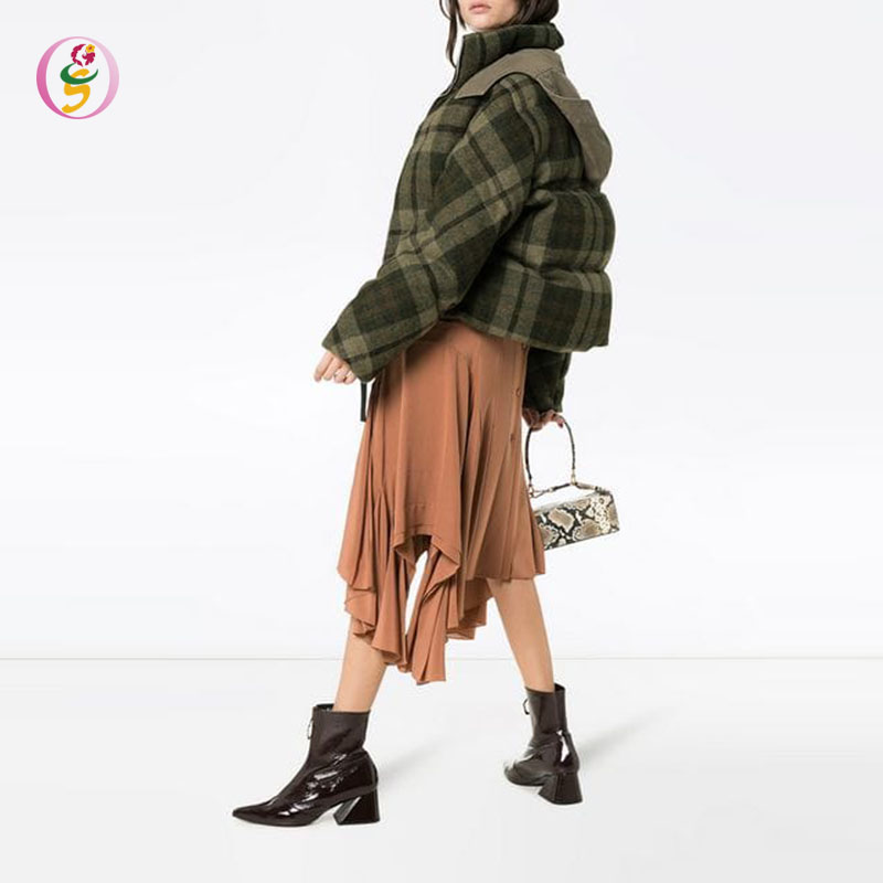 high standing collar green check puffer jacket women crop winter wear jacket