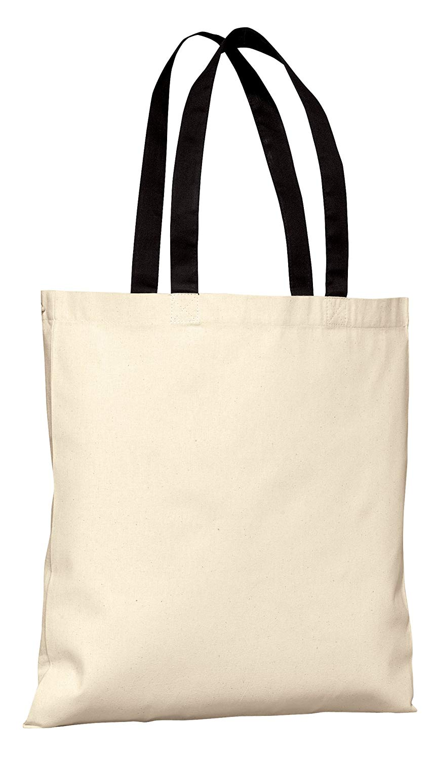 Budget Friendly Reusable 100% Cotton Tote Bag with Color Handles | Cotton Canvas Tote Bags in Bulk | Reusable and Eco Friendly Cotton Tote Bags Wholesale by BagzDepot (12, Black)