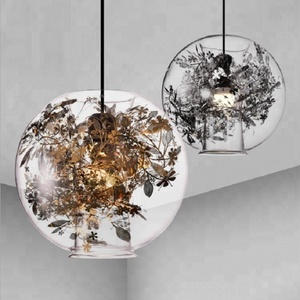 Nordic clear glass pendant light single head dining room 3d glass pendant lighting