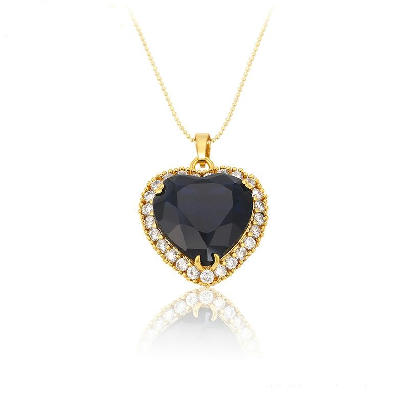 32339 xuping jewelry, fashion gemstone pendant, dubai gold blue The heart of the ocean necklace pendant
