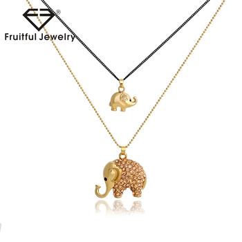7ead0b4452f7 Moda lindo elefante colgante collar negro y collar de cadena de oro para  las mujeres y