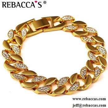 Men Jewelry Cuban Link Bracelet For Women Men 18k Yellow Gold Filled