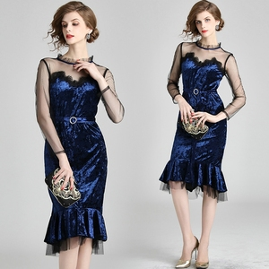 KEYIDI Super Fairy Mesh Velvet Mermaid Dress