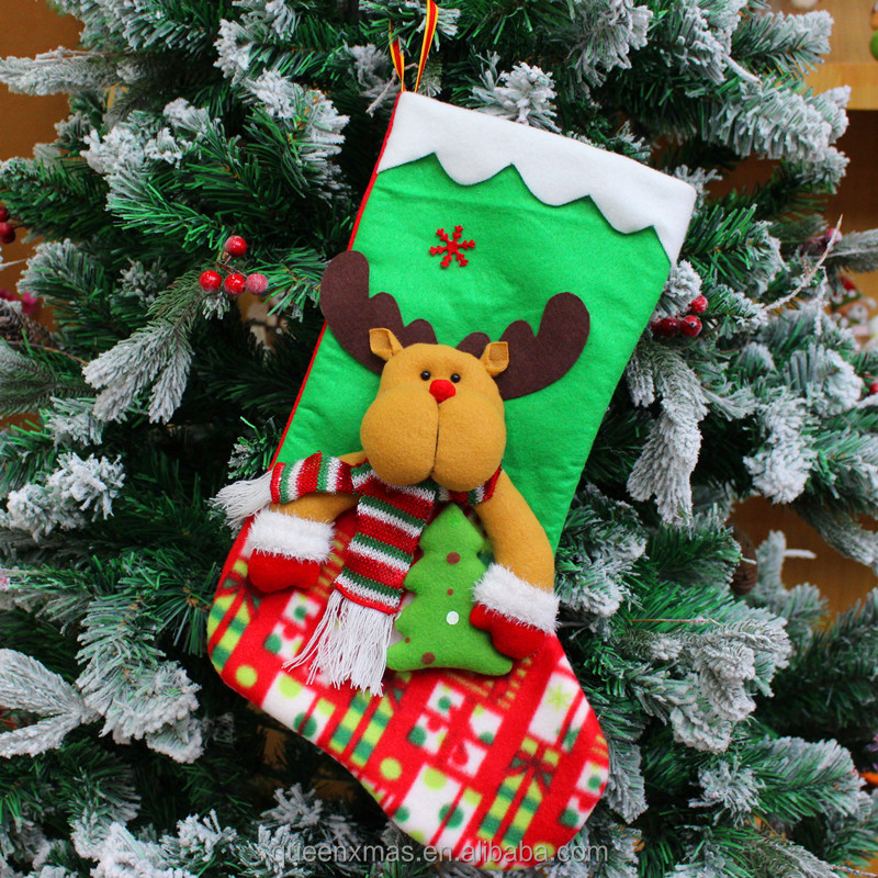 2017 new reindeer green knit Christmas Stocking Crafts