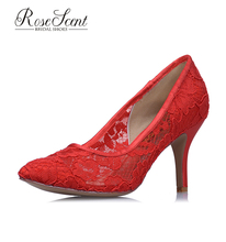 2017 Custom design pointed toe red lace mesh sandals bridal wedding shoes