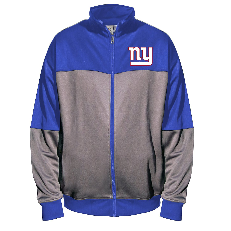 NFL New York Giants Unisex Poly fleece Track Jacket, CHARCOAL/Royal, 4X