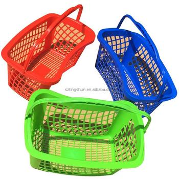 Metal foldable shopping basket with single hand Plated Handle Supermarket & Retail Store MINI Plastic