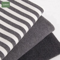 "Fabric Merchants Organic Cotton Lycra Spandex Jersey Knit Stretch Fabric 68/70"" wide Black And Dark Grey Stripe"