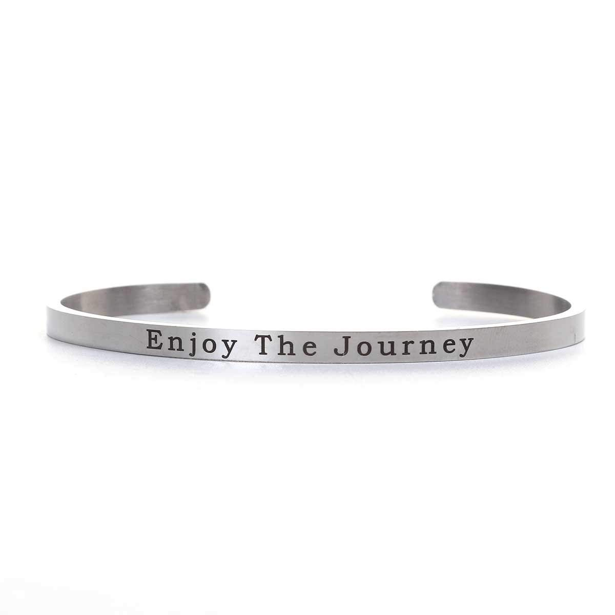 SEXY SPARKLES Stainless Steel Enjoy The Journey Positive Quotes Energy Open Cuff Bangle Bracelet