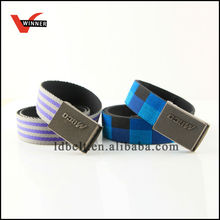 wholesale purple and blue canvas belt stripes/ checks canvas belt(BS-224 belt)
