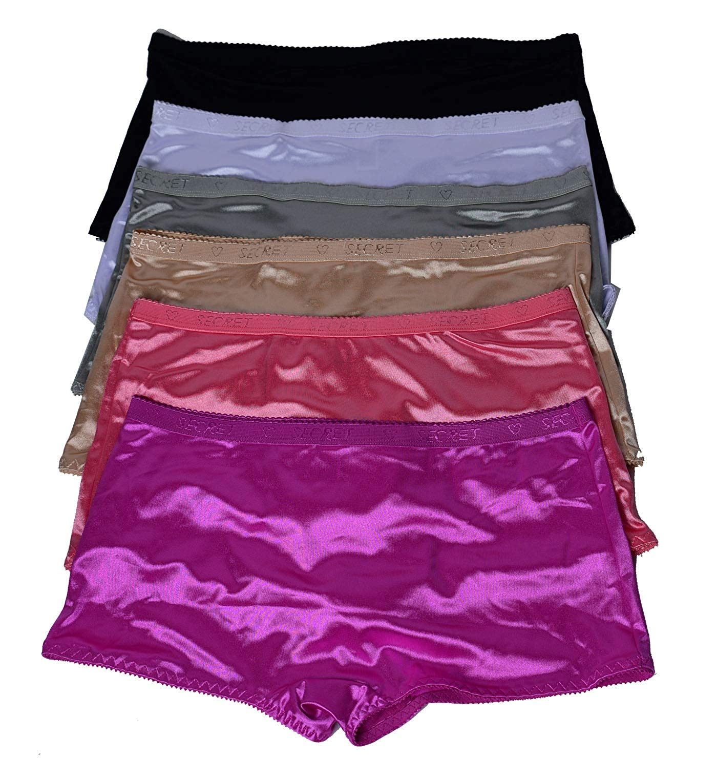 208c3cf05dd1 Get Quotations · Emily Johnson Women Satin Boxer 6 Pack of Plain Satin  Underwear