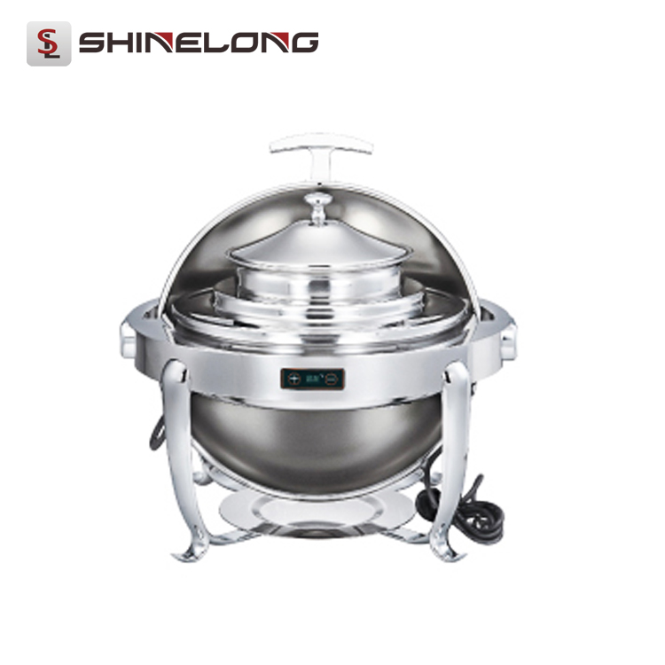 C371 Stainless Steel Temperature Control Round Soup Mini Chafing Dish