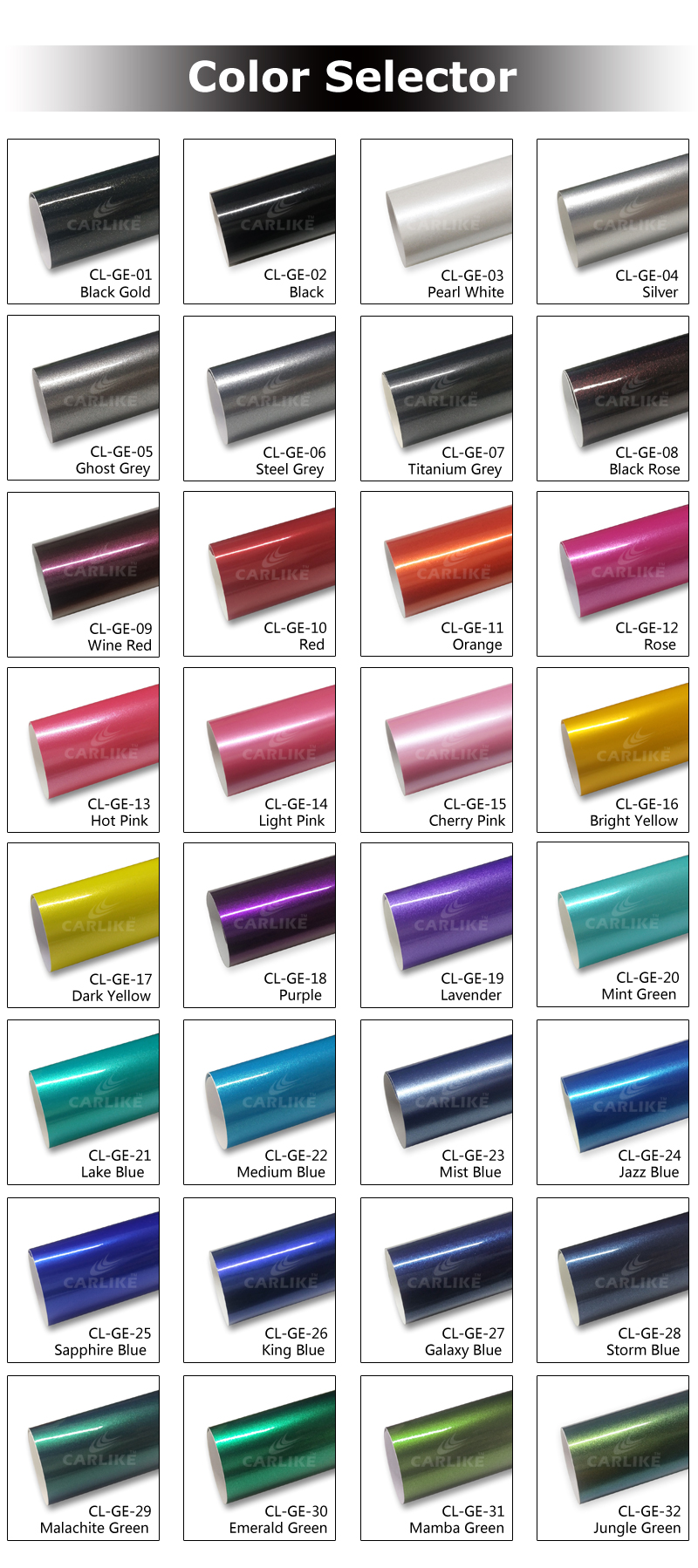 CARLIKE Car Body Wrap Sticker Gloss Electro Metallic Vehicles Wrapping