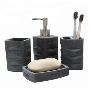 2018 New Products Modern Hotel Matt Black Soapstone Finished Bathroom Accessories Set in Black for Photos Pictures