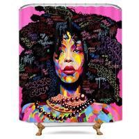 Fabric Material and Eco-Friendly Shower Curtain African Theme Black Girl Shower Curtain