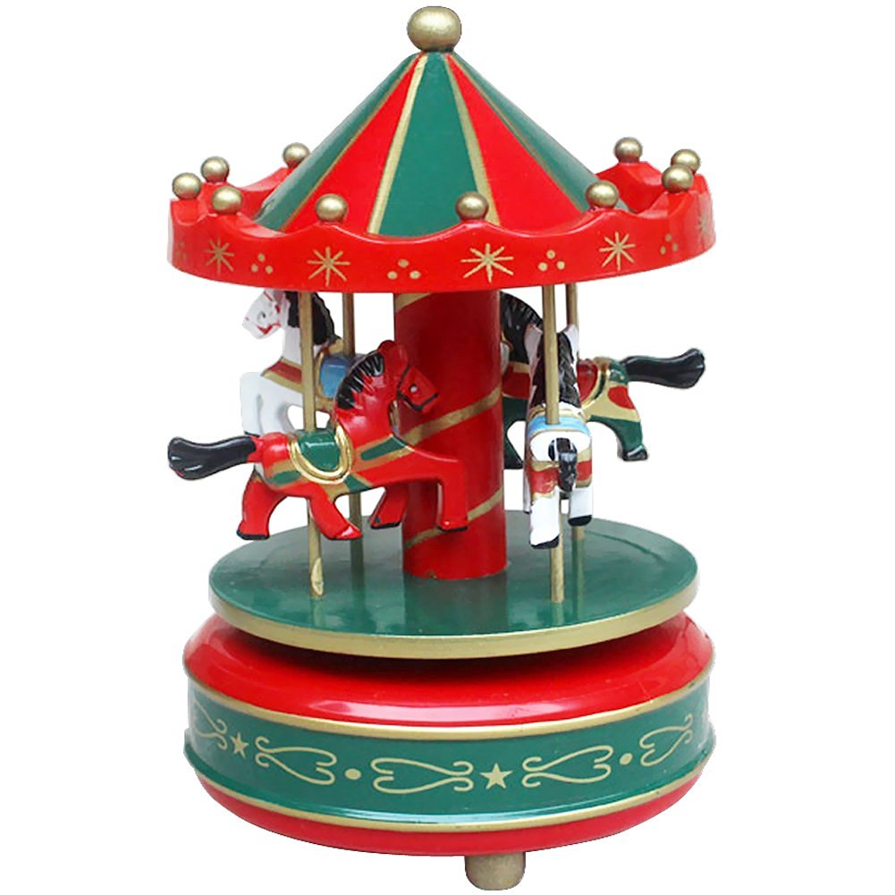 Kids Funny Wooden Merry-Go-Round Musical Box 4-Horse Figurine Rotating Carousel Music Box with Tune Castle Toy Collection Set Festive Home Decoration Birthday Xmas Present for Children, Red and Green
