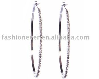 Women S Large Crystal Rhinestone Bridal Thin Hoop Earrings Metal