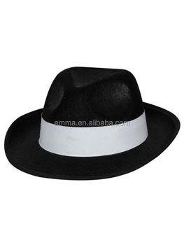 10ef19d120c72 Men Women Black Hard Felt Fedora Trilby Panama Jazz Gangster Hat Cap Al  Capone Carnival Party