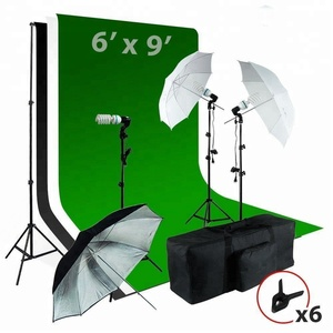 6 x9 ft White / Black / Green Chromakey Fabricated Backdrop Muslin Background Screen Umbrella Light Kit
