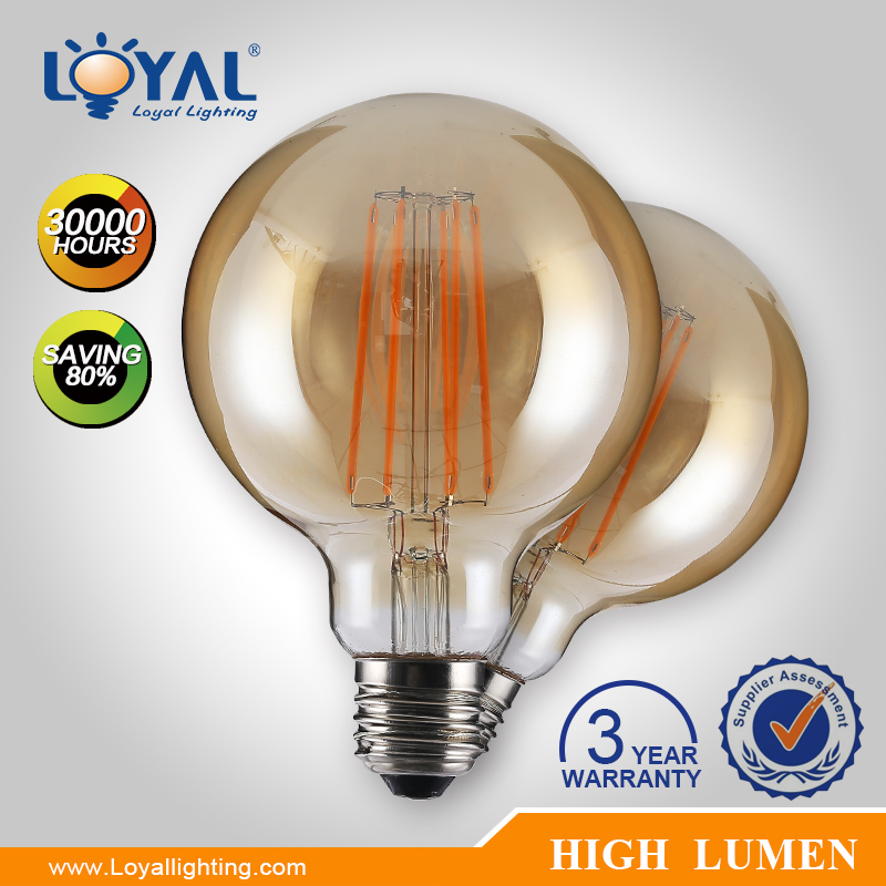 High lumen 2700-6500k IP20 Filament bulb lamp e27 SMD 6w uv light bulb